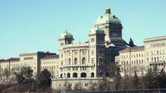 Bundeshaus in Bern with Tram Passing Stock Footage