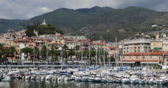 UltraHD 4K UHD Sanremo Skyline San Remo Italian Luxury Boats Sailing Ships Yacht Stock Footage