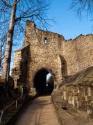 gate tower of oybin castle - stock photo
