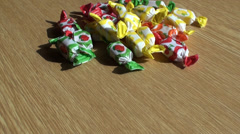 Candy on the table Stock Footage