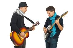 Musical band of two men - stock photo