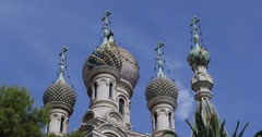 UHD 4K Russian Orthodox Church Sanremo San Remo Cathedral Cupola Dome Crosses Stock Footage