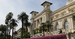 UltraHD 4K Famous Municipal Casino Iconic Building Italian Gamble Place Sanremo Stock Footage