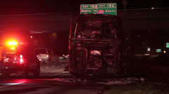 bus fire aftermath - stock footage