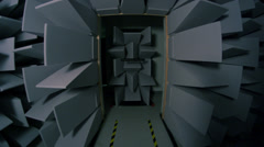 Anechoic chamber door closing. Soundproof Room. Stock Footage