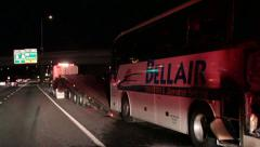Burned charter bus - stock footage
