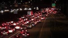 Night traffic jam, accident scene Stock Footage