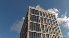 Timelapse of clouds reflected in a modern office building Stock Footage