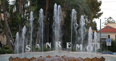 Ultra HD 4K Sanremo San Remo Sign Welcome Tourist Fountain Cars Italian Riviera Stock Footage