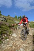 Mountain biker riding though swiss mountain area Stock Photos