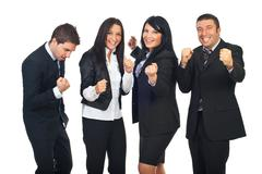 Excited people team with success in business - stock photo