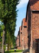 Rakennuksia Auschwitzissa (oswiecim) keskitysleiri Kuvituskuvat