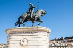 equestrian statue of dom joao i in figueira square (or praca da figueira) in  - stock photo