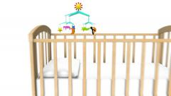 Dolly back revealing many Baby Cribs Stock Footage