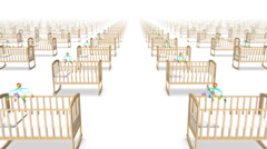 Dolly forward over many Baby Cribs to none  Stock Footage