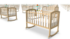 Sweeping across endless Baby Cribs front Stock Footage