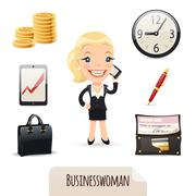 Businesswomans icons set Stock Illustration