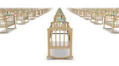 Front view of endless rows of Baby Cribs Stock Photos