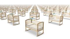 High angled diagonal view of endless Baby Cribs - stock photo