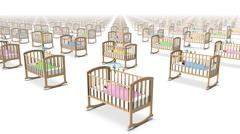High angled diagonal view of endless Cribs with Baby. - stock photo