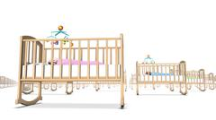 Low angle view of endless Cribs with Baby Stock Photos