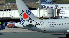 New York Jet Blue airplane logo Stock Footage