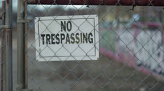 No Trespassing Sign Vacant Lot 2 - stock footage