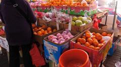 Vendors Stalls Hawkers at promenade waterfront Cheung Chau island street scene Stock Footage