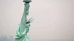 Stock Video Footage of Aerial view of Statue of Liberty