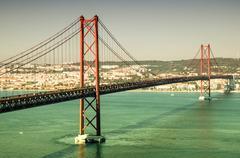 25th april bridge, lisbon, portugal Stock Photos