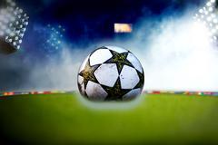 Soccer ball at the stadium Stock Illustration