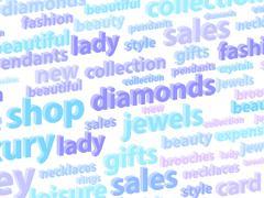 Precious Jewels Word Cloud - stock illustration