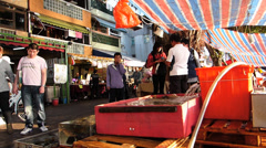 Live Seafood Stall  at promenade waterfront Cheung Chau island street scene Hong Stock Footage