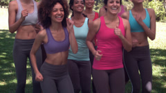 Fitness class jogging on the spot together Stock Footage