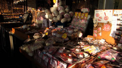 Time Lapse  Vendors Stalls Hawkers at promenade waterfront Cheung Chau island - stock footage