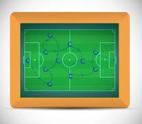 teaching soccer plays on a chalkboard. - stock illustration