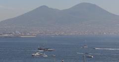 Ultra HD 4K Naples Summit Caldeira Volcano Mount Vesuvius Sailing Boats Yachts Stock Footage