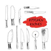 Kitchen knives. - stock illustration