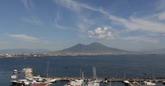 Ultra HD 4K Naples Skyline Italy Luxury Yacht Sailing Boat Moving Mount Vesuvius Stock Footage