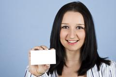 Business lady holding  visiting card Stock Photos