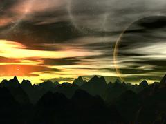 Sunset on xilis 8. Stock Illustration