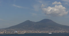 Ultra HD 4K Naples Volcano Mount Vesuvius Vesuvio Sailing Boats Yachts Passing Stock Footage