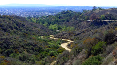 Hiking Trails In Griffith Park With Los Angeles In Background Stock Footage