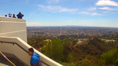 Sight Seers Enjoying View Of Los Angeles From Griffith Park Stock Footage