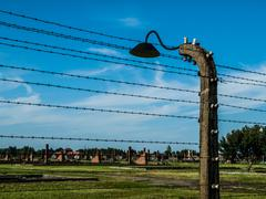 Barb wires and lamp in birkenau Kuvituskuvat