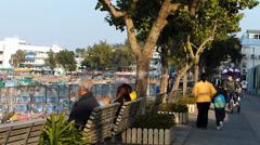 Park in Cheung Chau island waterfront Hong Kong China Asia - stock footage