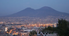 Ultra HD 4K Naples Skyline Beautiful Napoli Italy City Port Mount Vesuvius Night Stock Footage