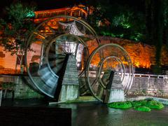 watermill in lijiang - stock photo