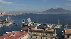 Naples Skyline Porto di Santa Lucia Yachts Sailing Boats Passing Mount Vesuvius Stock Footage