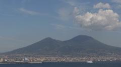 Naples Napoli Volcano Mount Vesuvius Vesuvio Sailing Boats Yachts Ships Passing Stock Footage